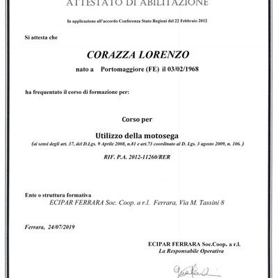 Patentino Utilizzo della Motosegna