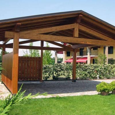 tettoie il legno lamellare