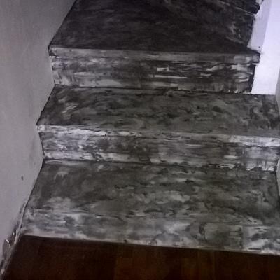rivestimento gradini con cementi colorati