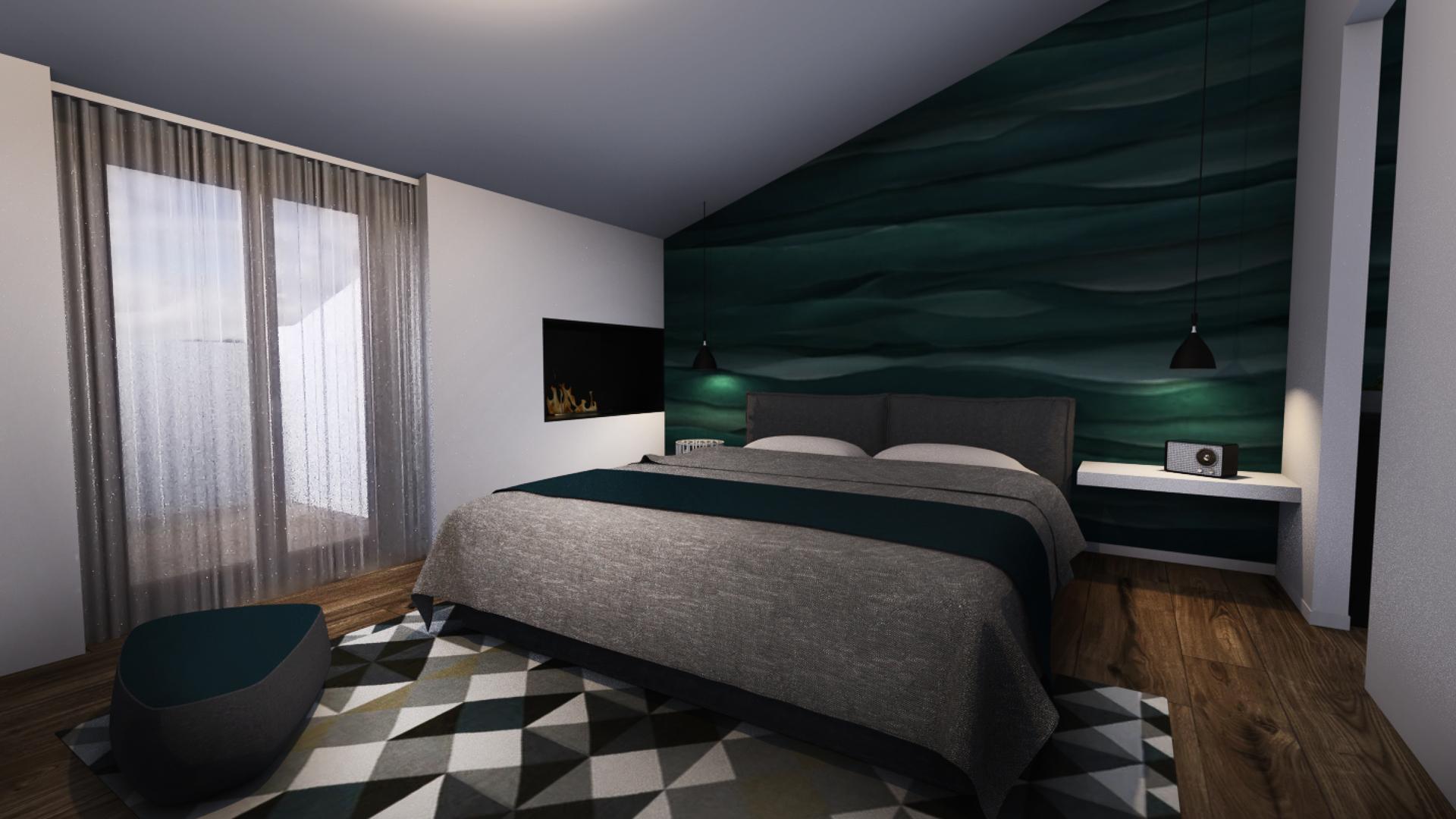camera da letto con carta da parati