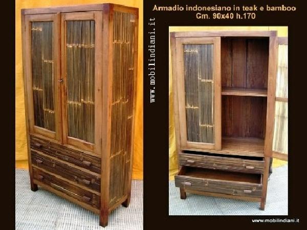 Foto armadio in bamboo e legno di teak di mobili etnici - Mobili in bambu ...