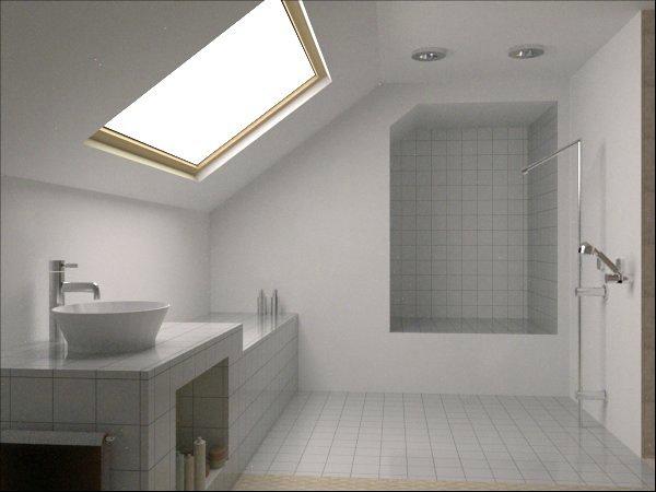 foto bagno classico con velux e doccia a scarico