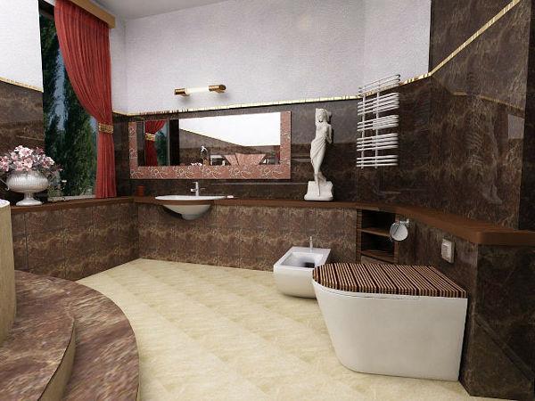 Foto bagno in marmo scuro e legno di style house - Bagni esterni in legno ...