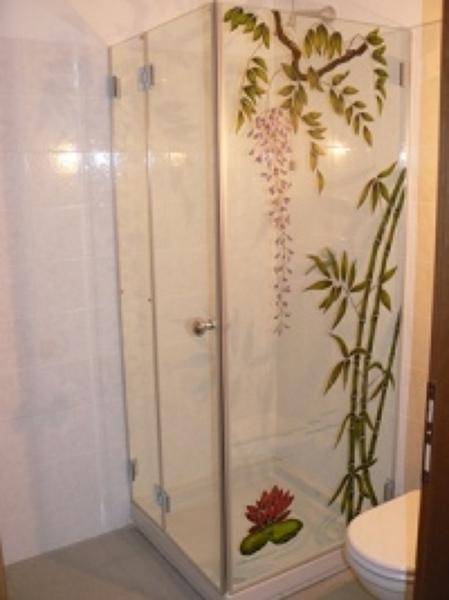 Foto box doccia vetro cristallo decorato di vetrivart - Pica casa box doccia ...