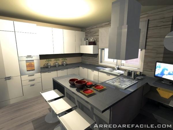 Foto cucina con penisola snack di arredarefacile 109910 for Cucina con snack