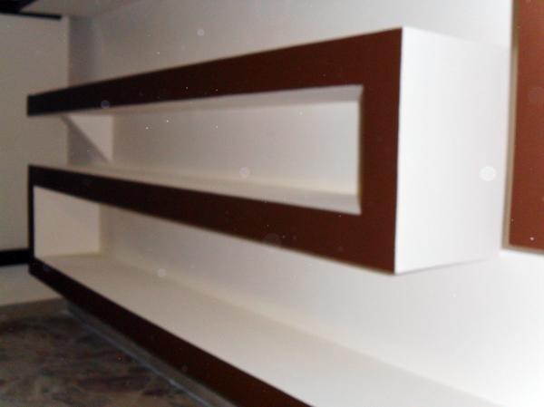 Foto parete attrezzata in cartongesso con frontali cioccolato di color restyling di tropea - Pareti porta tv in cartongesso ...