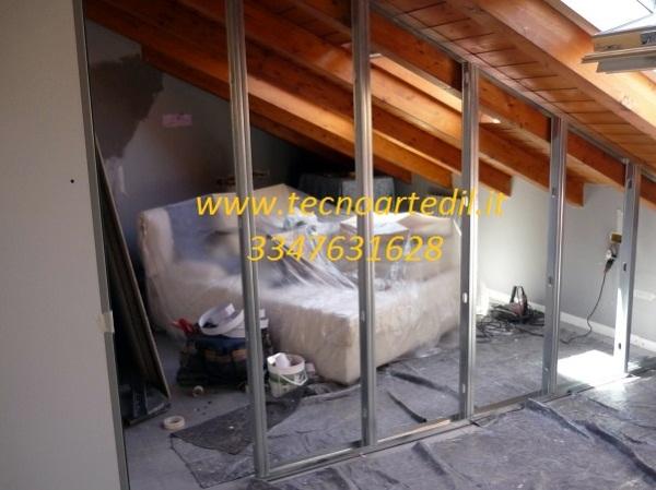 Foto paretti divisorie in cartongesso ristrutturazione for Prezzi mansarde