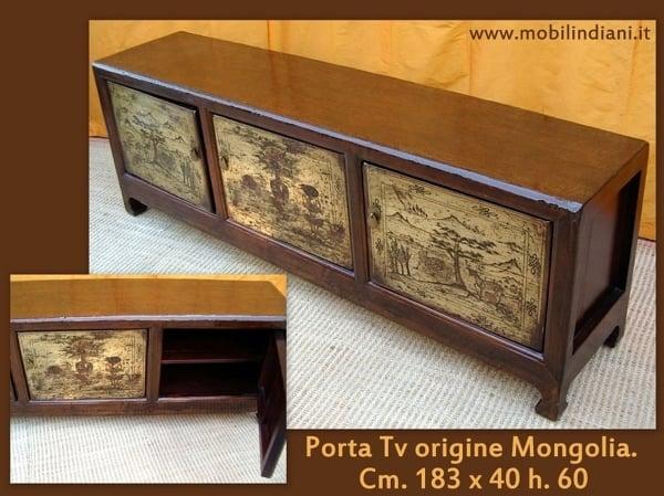 Foto porta tv etnico paese mongolia di mobili etnici for Arredamento etnico bari