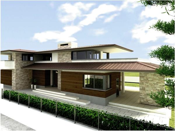 Foto progetto per una villa unifamiliare di studio di architettura interior design arch - Progetti giardino per villette ...