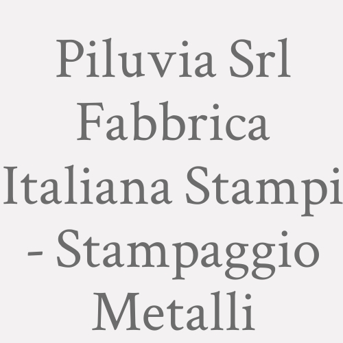 Piluvia Srl Fabbrica Italiana Stampi - Stampaggio Metalli