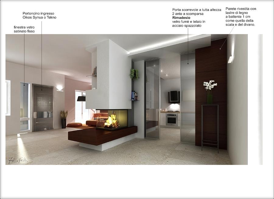 Offerta progetto di un interno con camino centrale zona for Camino centrale