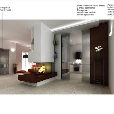 Offerta progetto di un interno con camino centrale zona for Living con camino