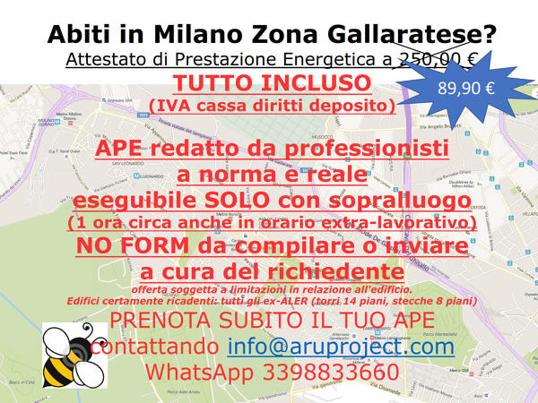 APE MILANO GALLARATESE a 89,90 € tutto incluso