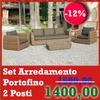 Set Arredamento Modello Portofino composto da Divano 2 Posti + 2 Poltrone + Tavolino