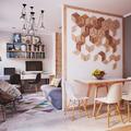 appartamento piccolo con pareti bianche e grigie