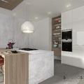 Cucina bianca con marmo e legno