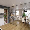 Cucina chiusa da vetrate