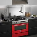 cucina monoblocco forno rosso