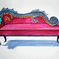divano a forma di drago in stoffa e lattice