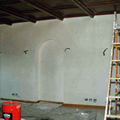 La parete pronta per essere affrescata