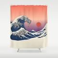 Tenda doccia con grafica ispirata alle opere di Hokusai