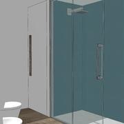 3d vista porzione sanitari e doccia