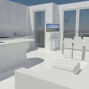 la zona living vista dall'ingresso con l'isola della cucina