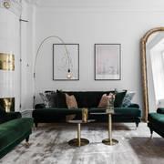 Salotto con divani in velluto verde
