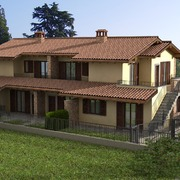 """RENDERING progettuale di immobili di diversa tipologia:  Palazzina """"Modern Style"""" e Villa Bi-famigliare Tradizionale a Bergamo (BG)"""