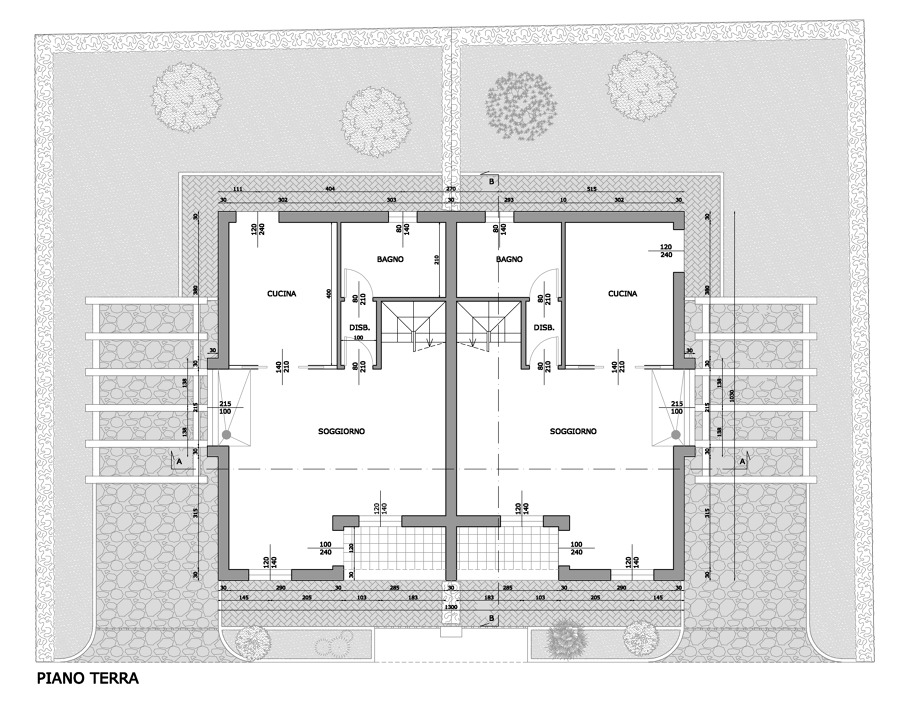 Progetto edificio bifamiliare idee architetti for Idee piano terra