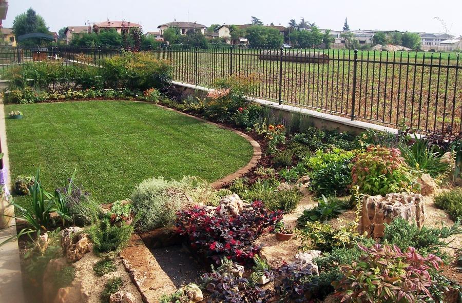 Progetto di creazione giardino con prato semicircolare con - Idee per aiuole giardino ...