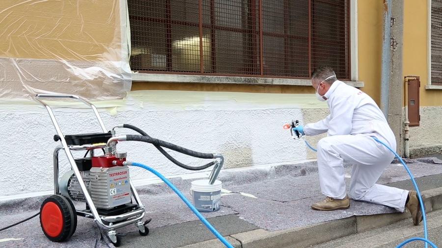 Applicazione pitture al quarzo per esterni con pompa airless
