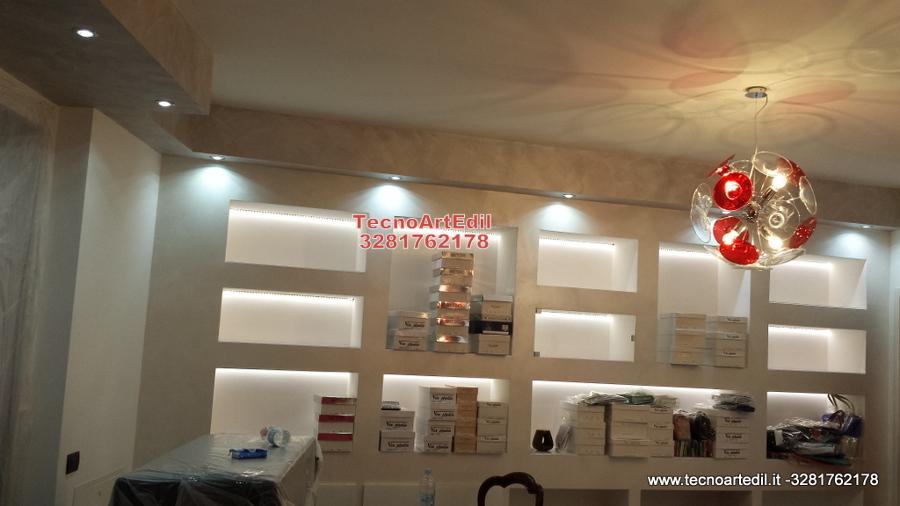 Progetto realizzazione arredi in cartongesso negozio for Brianza arredi