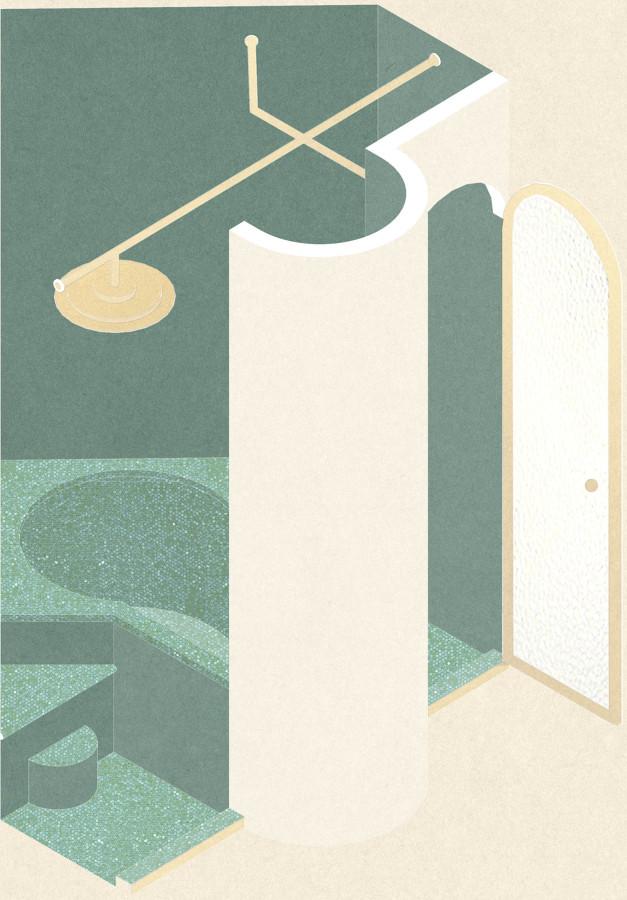 Assonometria della sala da bagno