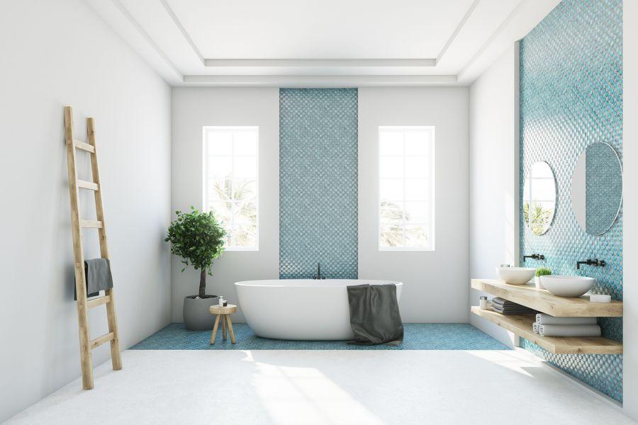 Bagno con mosaico azzurro