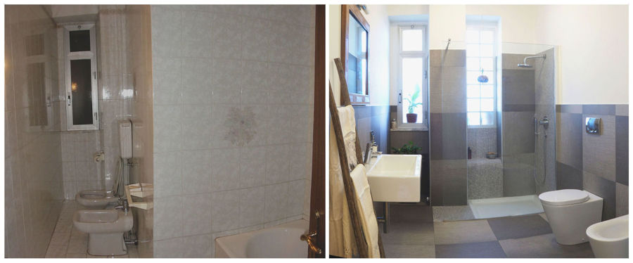 Bagno, prima e dopo i lavori