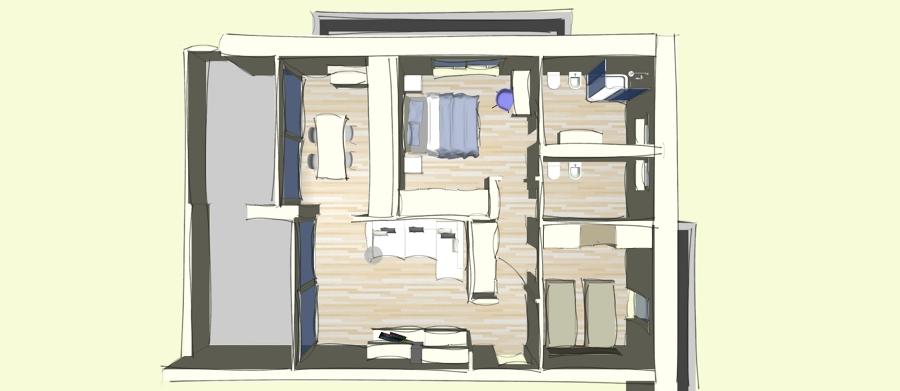 Bozza di un arredamento completo idee mobili for Arredamento appartamento completo