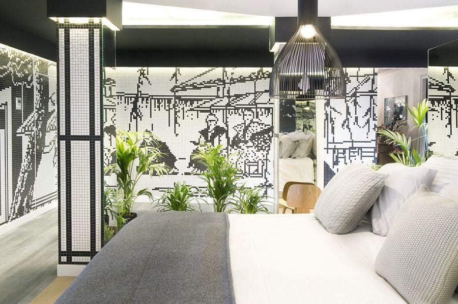 Camera da letto bianco e nero