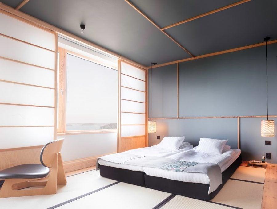 Camera da letto ispirata alle case tradizionali giapponesi