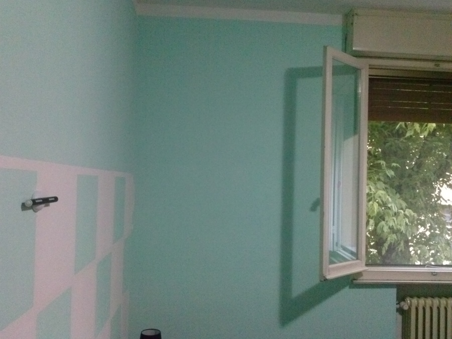 Pareti Colorate Soffitto Bianco : ... fatte verde acqua, con stacco ...