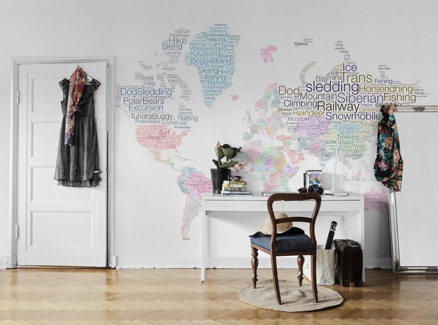 Esplora il mondo senza uscire di casa idee interior designer for Carta da parati cartina geografica