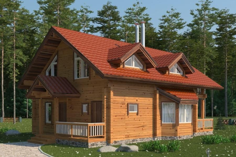 Foto casa in legno 173 mq di case bio siberia wood for Casa in legno 25 mq