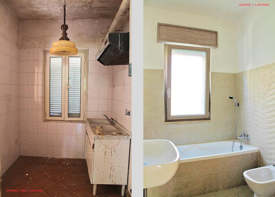 Confronto: la cucina precedente diventa un secondo bagno