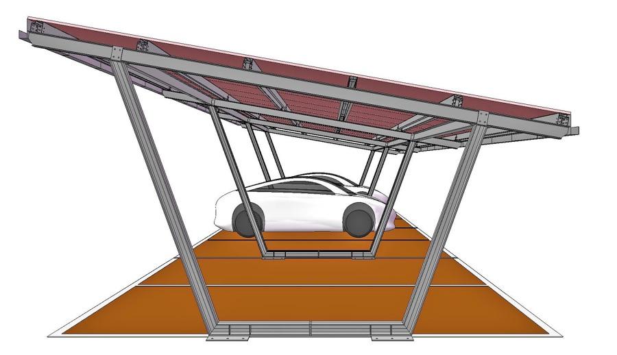 Struttura prefabbricata in acciaio per copertura posti for Kit per posto auto coperto