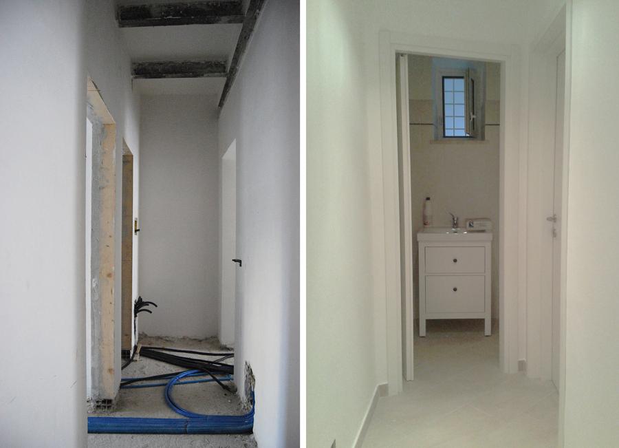 """Corridoio e bagno """"appartamento verde"""""""