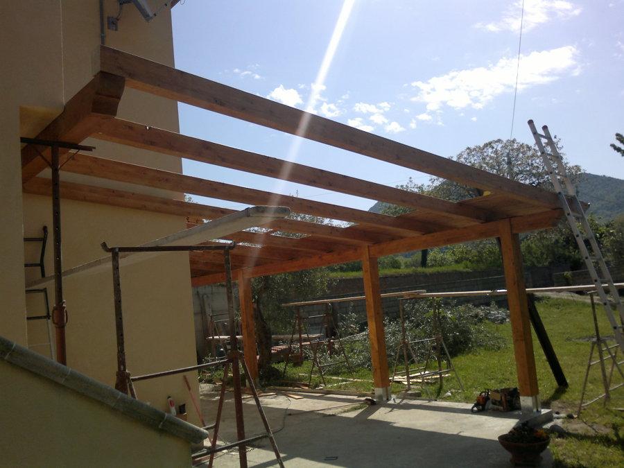 Costruzione portico in legno idee costruzione case for Progetti di piani portico proiettati