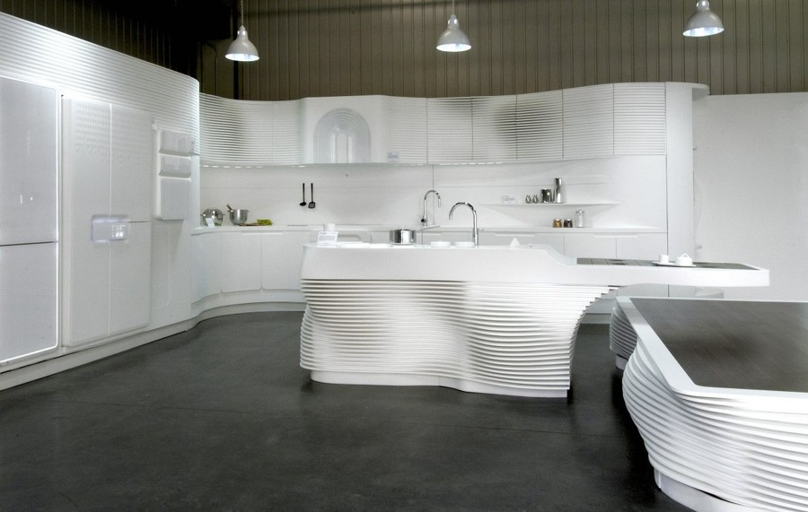 Cucina con isola in Solid Surface