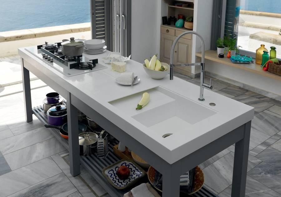 Cucina con lavello integrato