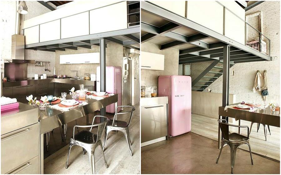 foto cucina industriale con frigo rosa di valeria del treste, Disegni interni