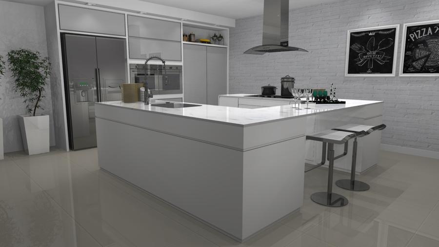Stunning cucina laccata bianca gallery home interior ideas - Cucina americana milano ...